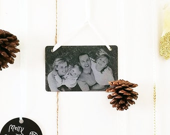 Family Portrait Christmas Card Ornament -Gift Tag -or Party Favor -Personalized w/ Photo, Handwriting, or Font Text- 2016 Christmas Gifts