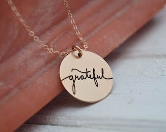 Grateful Necklace - Gold or Rose Gold Disc Pendant - Custom Back Options - Hand Drawn Floral Graphic - Laser Engraved Unique Gifts For Her..