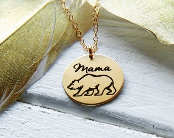 Mama Bear Circle Necklace - Gold, Silver or Rose Gold - .630 Disc Necklace - Back Customized option - Laser Engraved Graphic - New Mom Gift