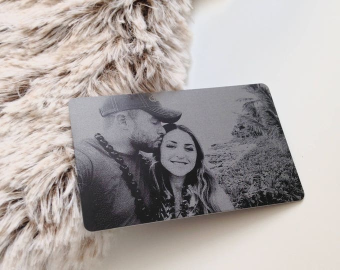 Featured listing image: Engraved Picture Wallet Insert - Add Back Engraving Too - Stocking Stuffer Gifts for Him or Her - Laser Engraved - Handwritten Wallet Insert