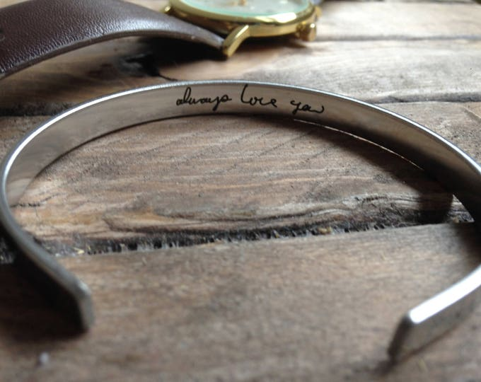 "Stainless Steel Cuff Bracelet - .25"" x 6"" Adjustable Cuff -with Your Handwriting, Optional Inside and/or Outside Custom Engraving Options"