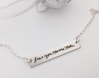 Your Handwriting Bar Necklace -Personalized For Her- Sterling Silver, Gold or Rose Gold Filled- Layering Jewelry - 2018 Unique Holiday Gifts