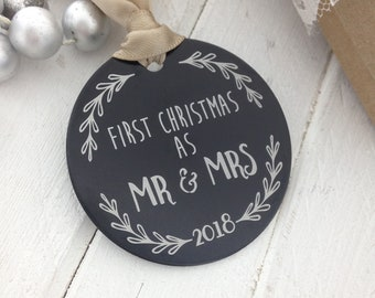 Mr. & Mrs. First Christmas Ornament - 2 Inch Circle, Engraved Metal Ornament - Use Your OWN_Photo, Handwriting, or Font_  Wedding Gift Ideas