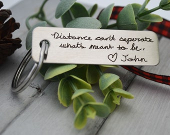 Handwritten Keychain - Long Distance Relationship - Design Your Own Custom Keychain Rectangle, Stainless Steel, Laser Engraved - Handwriting