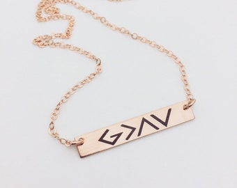 God Is Greater Than The Highs and The Lows -Rose Gold Bar Necklace - Personalized Text or ACTUAL HANDWRITING Back Engraving Options, For Her