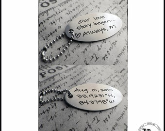 Handwritten GPS Coordinates Steel Key Chain -Your Handwriting - or font engraved, personalized key chain for him or her, Anniversary Gifts