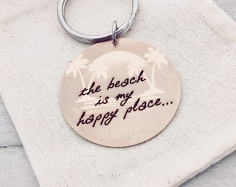 "the beach is my happy place... Frosted Rose Gold Sillouhette Key Chain -Custom Back Engraving Options _Your Handwriting or text_ 1.5"" Circle"