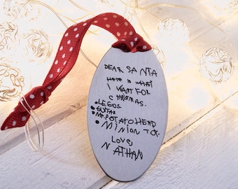 Note for Santa Engraved Ornament - Your Child's Handwriting or Doodles - Senimental Gift - Christmas Wishlist - Keepsake