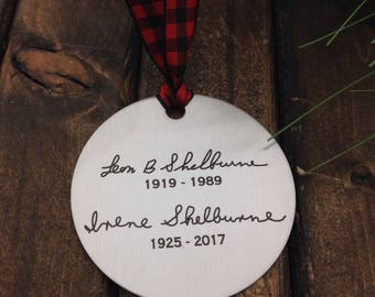 Handwritten Engraved Ornament -Two Inch Stainless Steel Circle- Use Your Handwriting, or Custom Text or Both