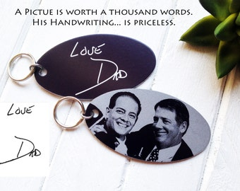 Personalized Keychain -with Your Photo - Add Your Handwritten Note or Custom Text Option - Engraved Metal Key Chain- Unique Christmas Gifts