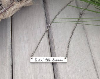 Handwritten Bar Necklace - NO TARNISH Stainless Steel - Your Actual Handwriting or Font Text - Free Spirit - Custom Laser Engraved Necklace