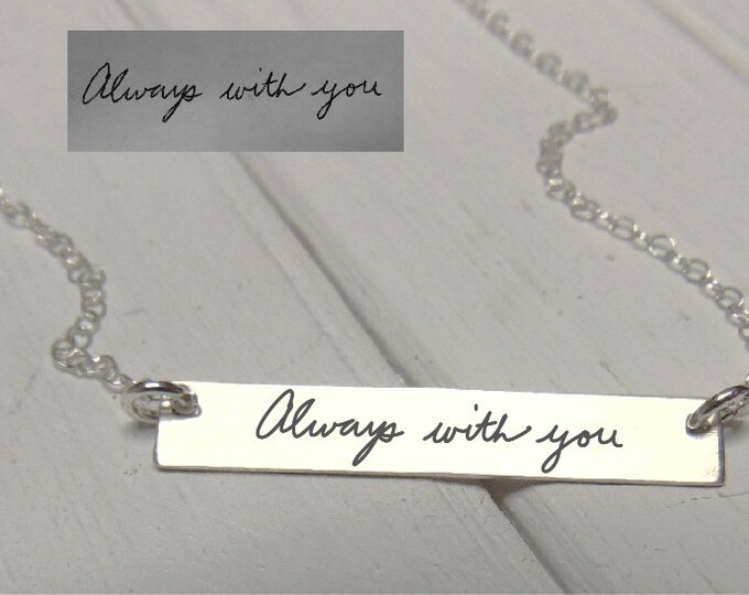 Featured listing image: Handwritten Horizontal Bar Necklace - YOUR HANDWRITING - or text, Sterling Silver, Gold or Rose Gold - Perfect For Layering -Jewelry For Her
