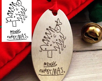 Children's Ornament Drawing - Christmast Ornament - Actual Handwriting - Your Child's Handwriting - Perfect gift for mom or dad - Grandma
