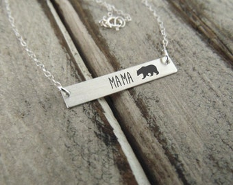 Silver Mama Bear Horizontal Bar Necklace - Sterling Silver -Perfect For Layering  Jewelry for Mom Necklace for Mom
