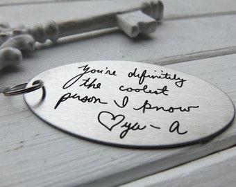 5 KEYCHAINS! Handwritten Key Chain, Your Handwriting keychain -  personalized key chain, keychain for him, keychain for her, personalized