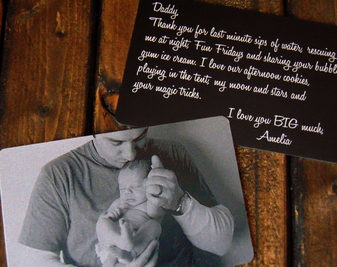 Engraved Picture Wallet Insert - Father's Day Gift- Back Engraving Too - with Your Handwriting - or Font Choice - Laser Engraved- Metal Card