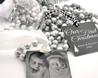 """2021 1st Christmas Personalized Photo Ornament -2.5"""" Square Engraved Metal Christmas Ornaments- Use Your Photo, Handwriting, or Custom Text"""