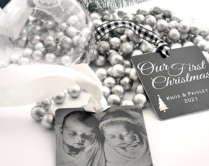 """Featured listing image: 2021 1st Christmas Personalized Photo Ornament -2.5"""" Square Engraved Metal Christmas Ornaments- Use Your Photo, Handwriting, or Custom Text"""