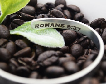 """Stainless Steel Cuff Bracelet - .25"""" x 6"""" Adjustable Cuff - Bible Verse - Be a Conqueror -  Inside  Outside Custom Engraving Options"""