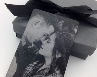 Photo Wallet Card -Personalized Black & White Metal Wallet Insert - Engraved with your photo, handwriting or font text