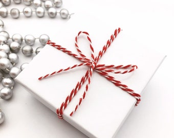 Gift Box, Gift Wrap Upgrade - Red & White Twine, White Box with Lid, Holiday Gifts -NOT SOLD SEPARATELY-