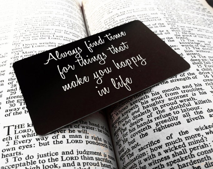Engraved Wallet Insert - Personalized Note - Back Engraving Too - Wallet Card - Him or Her - Laser Engraved - Handwritten Wallet Insert GIFT