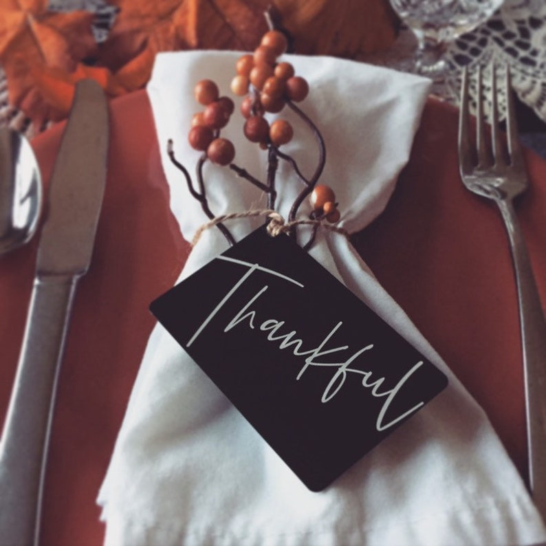 Custom Thankful Place Card Holiday Guest Favors & Ornaments  image 0