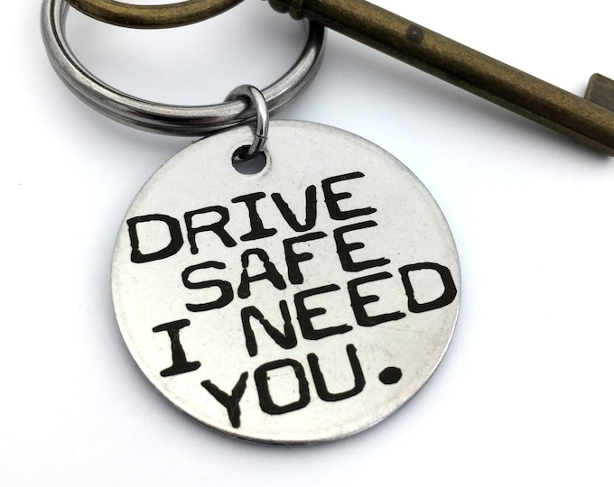 """Featured listing image: Drive Safe Key Chain _ Stainless Steel or Brass _Custom Back Engraving Options- Your Handwriting, text, or fingerprints. 1.25"""" Circle"""