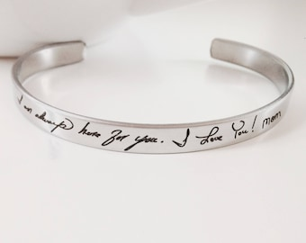 """Handwritten Stainless Steel Cuff Bracelet - .25"""" x 6"""" Adjustable Cuff - Optional Inside and/or Outside Custom Engraving Options"""