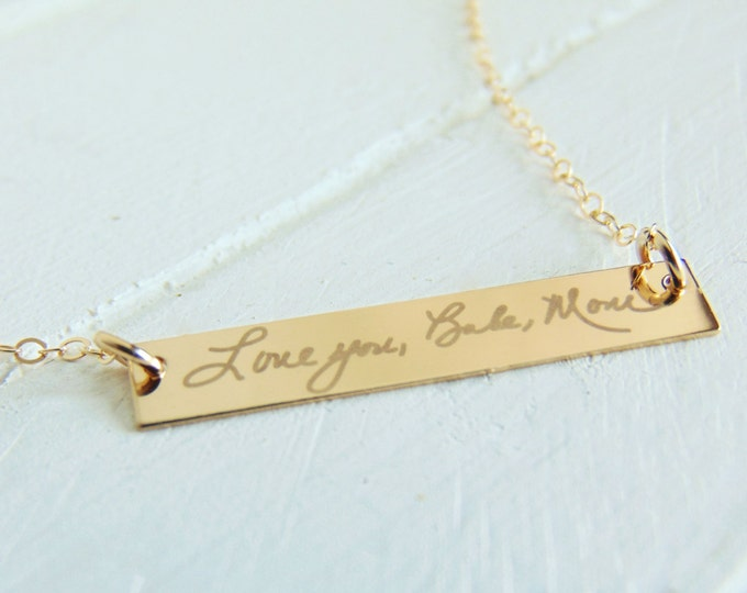 Handwritten Horizontal Bar Necklace - YOUR HANDWRITING, or Custom Text Options- White Engraving Option - Sterling Silver, Gold or Rose Gold