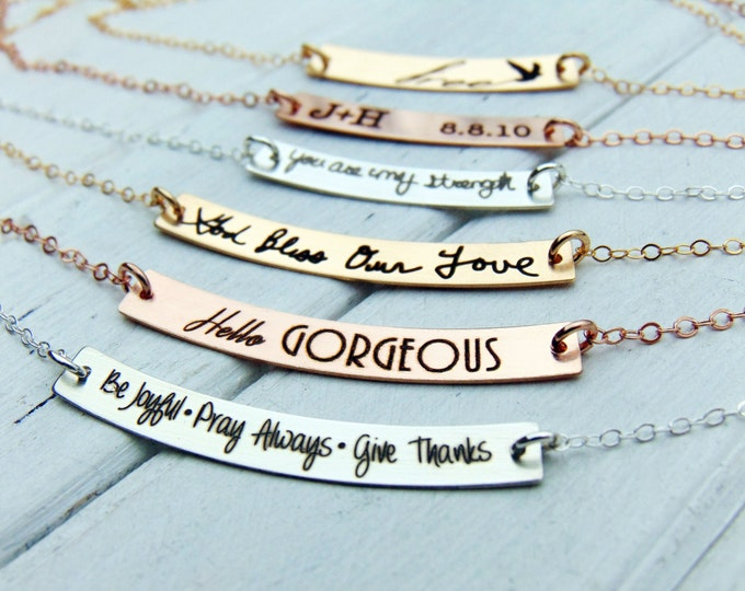 Curved Bar Necklace - Swing Bar Pendant-Customize with YOUR HANDWRITING - or text, Sterling Silver, Gold or Rose Gold - Perfect For Layering