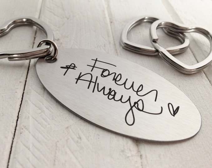 Handwritten HEART Key Chain, Your Handwriting keychain - or font, personalized key chain, keychain for him or her, heart key ring, Valentine