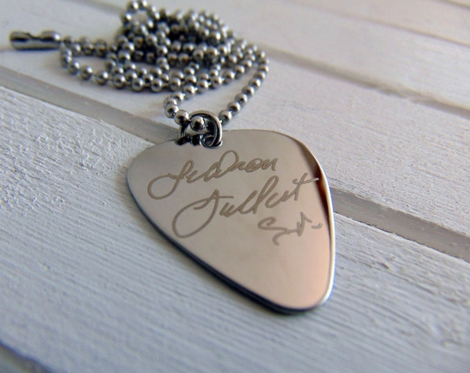 Signature Guitar Pick Chain, Your Handwriting - or Font, Personalized Gifts for Him, Custom Engraved Steel Guitar Pick Pendant, Memorable