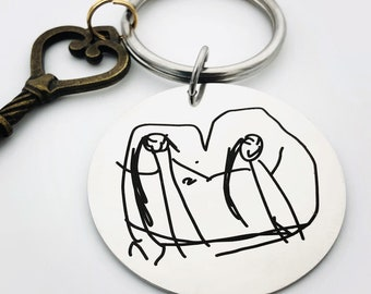 """Child's Artwork Key Chain for Mom - Stainless Steel, Custom Front/Back Engraving Options _Your Handwriting or text_ 1.5"""" Circle -2021 Gift"""