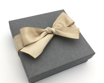 Gift Box, Gift Wrap Upgrade - Satin Toffee Ribbon, Gray Box with Lid