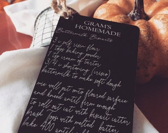 Grandma's Recipe Place Card, Holiday Guest Favors & Ornaments -Personalized w/your Photo, Handwriting, or Font Text - Custom Engraved Favors