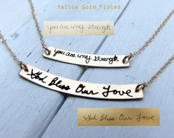 Handwritten Curved Bar Necklace - Swing Bar Pendant-Customize with YOUR HANDWRITING - or Text, Sterling Silver, Gold or Rose Gold - Layering