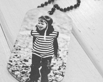 Picture Dog Tag - Back Engraving Too - Him or Her - Laser Engraved - Your Handwriting Option - Anniversary Gift - Fast Shipping - Great Gift
