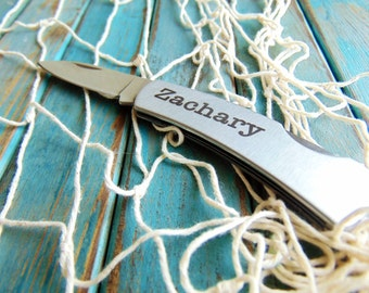 Stainless Steel Pocket Knife, Steel Blade, Laser Engraved, Lifetime Durability - Use your own Handwriting - or Text Font- Gifts for him