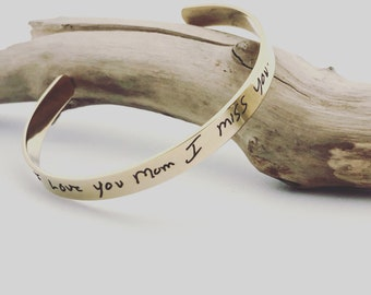 """Your Handwritten Bracelet~ Yellow Gold Steel Cuff ~ 6"""" x .25""""- Inside/Outside Custom Engraving Options For Her _ Hypoallergenic, No Tarnish"""