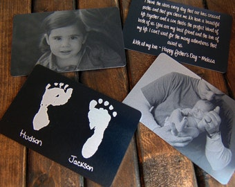Photo Wallet Insert - Custom Back Engraving- with Handwriting, Font Text, or Footprint Options - Metal Keepsake Card _Personalized For Dad