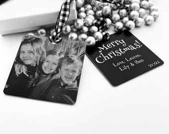 """Custom Christmas Ornament -2.5"""" Square Engraved Metal Ornaments- Use Your Own Photo, Your Handwriting, or Custom Text- 2021 Family Gifts"""