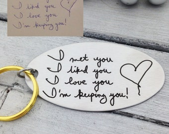 I'm Keeping You! Handwritten Key Chain, Brass Ring - Actual Handwriting - personalized keychain for him, keychain for her, personalized