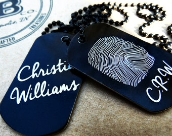 Fingerprint Signature Dog Tag Anodized Aluminum, key chain, Fingerprint Jewelry, thumbprint necklace, Hand crafted fingerprint gifts, ID