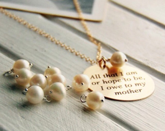 Freshwater Pearl- Add On Charm- 6mm, Add Charm to your Handwritten Pendant- Elegant gifts for Mom - Charm Necklaces- Gifts for Her