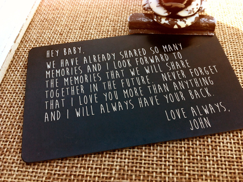 88 Engraved Aluminum Wallet Love Card Insert