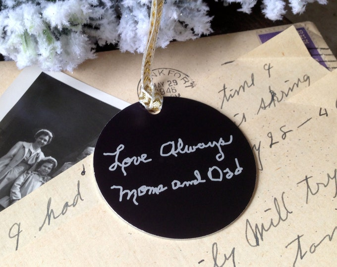 "Your Loved One's Handwritten Christmas Ornament - 2"" Personalized Christmas Ornaments - Handwritten, or Custom Text - Rememberance Gifts"