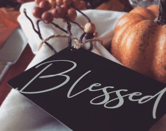 """Custom """"Blessed"""" Place Card, Holiday Guest Favors & Ornaments -Personalized w/your Photo, Handwriting, or Font Text -Engraved Keepsake Gifts"""