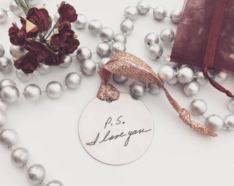 """Handwriting Ornament -Rose Gold Ribbon- Personalized Christmas Ornaments- Your Handwritten Imagr and/or font- 2"""" Steel Circle, 2021 Home"""