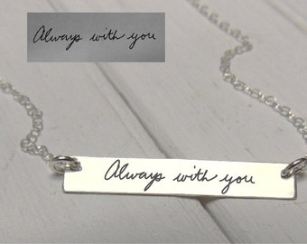 Handwritten Horizontal Bar Necklace - YOUR HANDWRITING - or text, Sterling Silver, Gold or Rose Gold - Perfect For Layering -Jewelry For Her